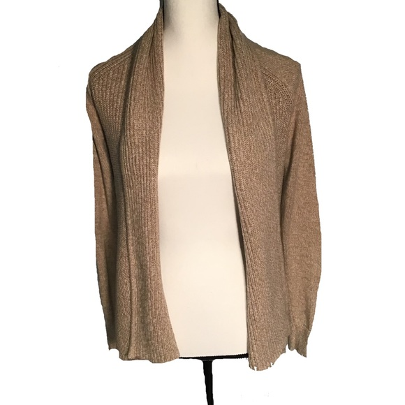 LL Bean Shaker Stitch Open Front Cardigan size M